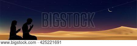 Ramadan Kareem Card,muslim Man And Woman Making Supplication On Desert Sand Dunes With Crescent Moon