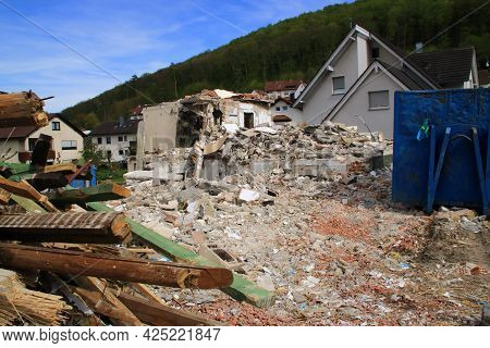 Construction Rubble On A Construction Site After A House Has Been Demolished