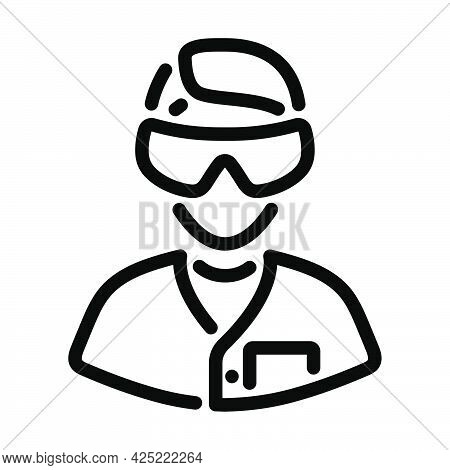 Icon Of Chemist In Eyewear. Bold Outline Design With Editable Stroke Width. Vector Illustration.