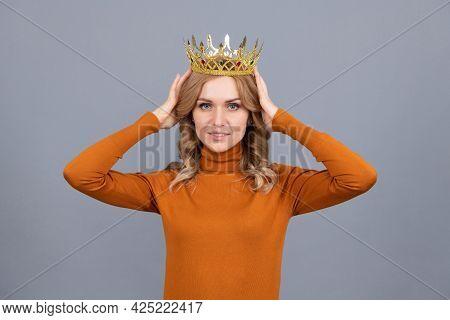 Egoistic Girl Wear Diadem. Arrogance And Selfishness. Portrait Of Glory.