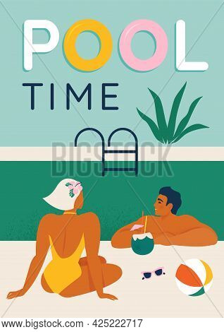 Young Couple Relaxing By The Pool Seated, Swimming In The Pool And Umbrella Vector Illustration Post