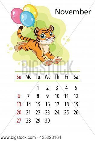 Wall Calendar Design Template For November 2022, Year Of Tiger According To The Chinese Or Eastern C