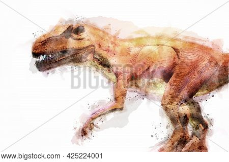 T-rex Dinosaur Isolated On White Background. Watercolor Style.