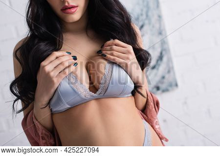 Cropped View Of Young Seductive Woman In Bra Touching Bust