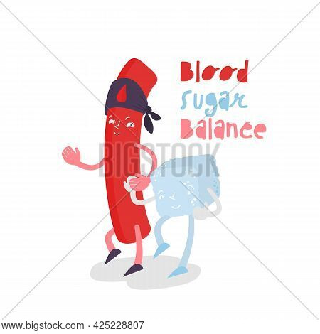 Blood Sugar Balance Character. Glycemic Index Sign.