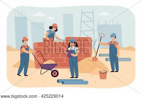 Team Of Happy Children Working As Constructors. Flat Vector Illustration. Boys And Girls In Construc