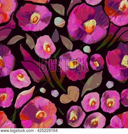 Colorful Poppy Seamless Vector Pattern With Abstract Wild Flowers And Plants. Colored Hand Drawn Dec