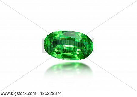 Natural Tsavorite Garnet Gem. Rich Grass Green, Transparent, Oval Faceted, Loose, Semiprecious Gemst