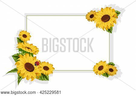 Frame And Sunflowers In The Illustration.frame With A Decor Of Sunflowers On A White Background In V