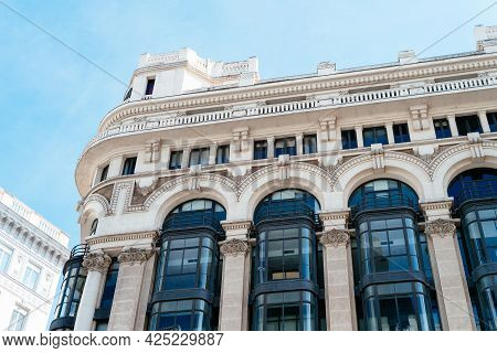 Historic Buildings In Gran Via Avenue In Madrid
