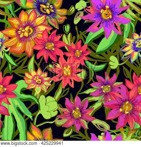 Tropic Exotic Flowers Seamless Pattern. Passiflora, Orchid, Plumeria. Isolated In Black Background W