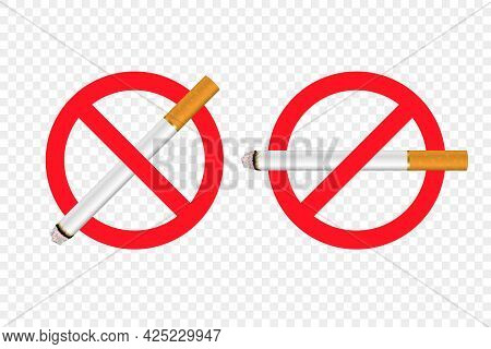 Vector No Smoking Area Sign, Symbol, Label Set Isolated. Realistic 3d Cigarette. Do Not Smoke Here.