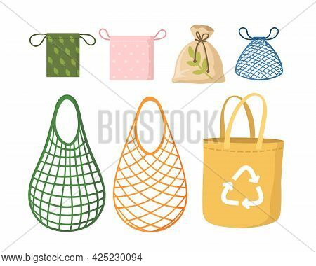 Eco Shopping Net Bags Flat Vector Illustration Set. Drawing Kit, Tote And Bulk Bags For Grocery Shop