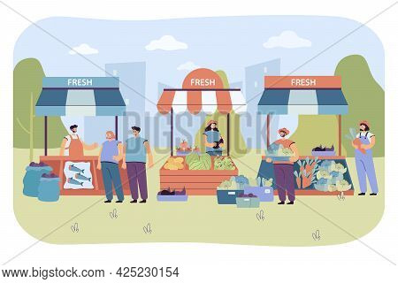 Street Vendors Selling Fresh Food To People. Flat Vector Illustration. Vegetable, Fruit And Fish Sta