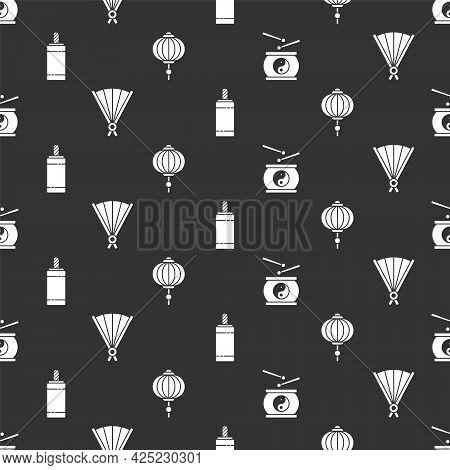 Set Chinese Drum, Paper Chinese Folding Fan, Firework And Chinese Paper Lantern On Seamless Pattern.