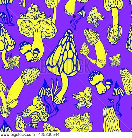 Mushrooms With Hand Drawn Different Shape. Stylized Magic Psychedelic Mushrooms Seamless Pattern. Bl