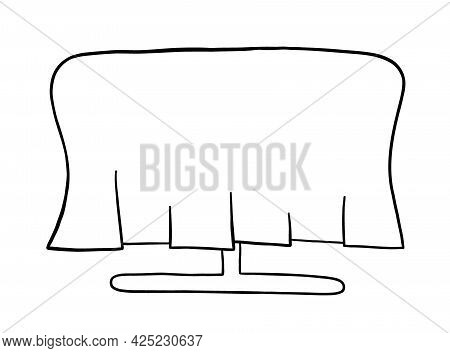 Cartoon Vector Illustration Of Dining Table And Cover. Black Outlined And White Colored.