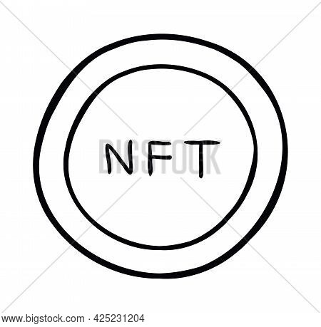 Cartoon Vector Illustration Of Nft Coin. Black Outlined And White Colored.