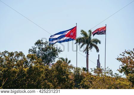 Photo Of The Loma Del Capiro In Santa Clara. At Its Top, The Flag Of Cuba And The Flag Of July 26 Fl