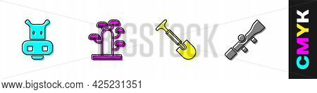 Set Hippo Or Hippopotamus, African Tree, Shovel And Sniper Optical Sight Icon. Vector