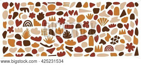 Hand Drawn Shapes, Organic Abstract Forms. Contemporary Vector Illustration In Terracotta Colors, Is