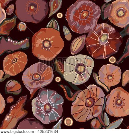 Drawn Colorful Seamless Pattern Of Garden Flowers, Vector Illustration. Brown, Red Large Floral Prin