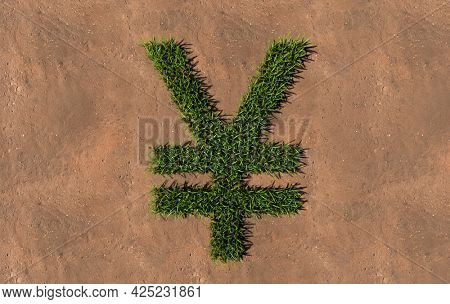 Concept conceptual green summer lawn grass symbol shape on brown soil or earth background, yen sign. 3d illustration metaphor for nature, conservation, organic, growth, environment, ecology, spring