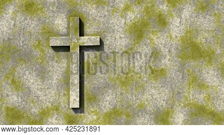Concept or conceptual green stone cross on a vintage grungy stone background. 3d illustration metaphor for God, Christ, Christianity,  religious, faith, holy, spiritual, Jesus, belief or resurection