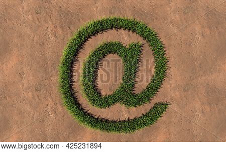 Concept conceptual green summer lawn grass symbol shape on brown soil or earth background, at sign. 3d illustration metaphor for nature, conservation, organic, growth, environment, ecology, spring