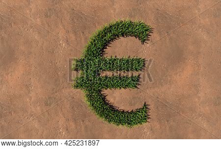 Concept conceptual green summer lawn grass symbol shape on brown soil or earth background, euro sign. 3d illustration metaphor for nature, conservation, organic, growth, environment, ecology, spring