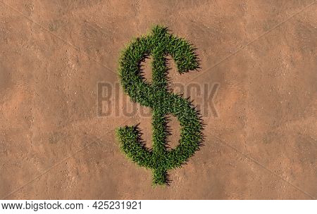 Concept conceptual green summer lawn grass symbol shape on brown soil or earth background, dollar sign. 3d illustration metaphor for nature, conservation, organic, growth, environment, ecology, spring