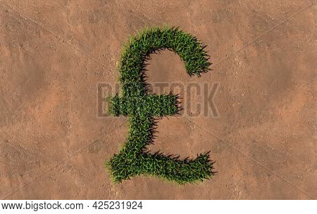 Concept conceptual green summer lawn grass symbol shape on brown soil or earth background, pound sign. 3d illustration metaphor for nature, conservation, organic, growth, environment, ecology, spring