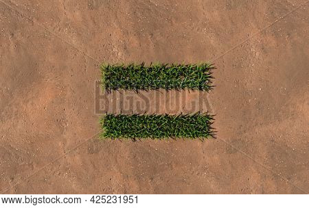 Concept conceptual green summer lawn grass symbol shape on brown soil or earth background, equal sign. 3d illustration metaphor for nature, conservation, organic, growth, environment, ecology, spring