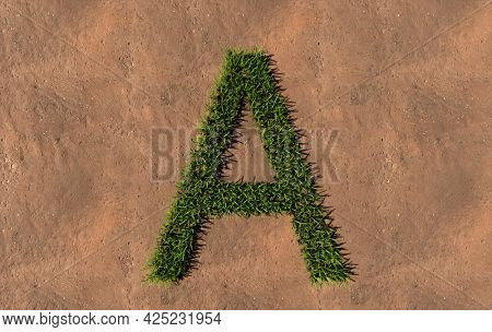 Concept conceptual green summer lawn grass symbol shape on brown soil or earth background, font of A. 3d illustration metaphor for nature, conservation, organic, growth, environment, ecology, spring
