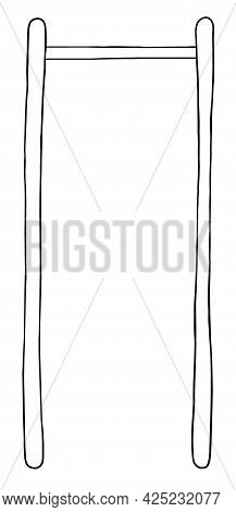 Cartoon Vector Illustration Of Chin, Pull Up Bar. Black Outlined And White Colored.