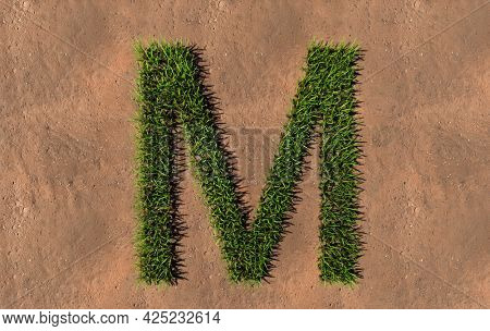 Concept conceptual green summer lawn grass symbol shape on brown soil or earth background, font of M. 3d illustration metaphor for nature, conservation, organic, growth, environment, ecology, spring