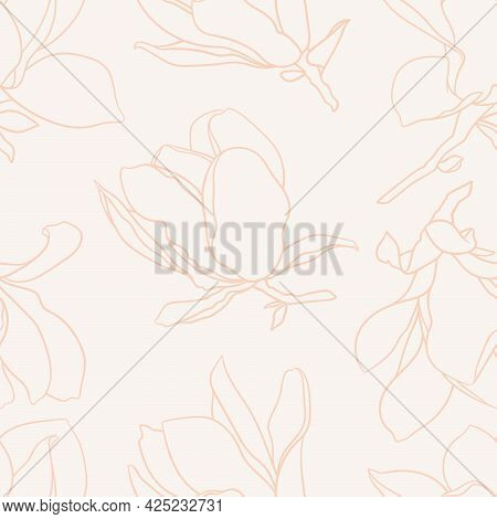Seamless Pattern With Magnolia Flowers. Modern Minimalistic Style, Line Blooming Buds On Branches, B