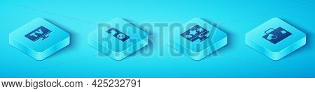 Set Isometric Smart Tv, Please Do Not Disturb, Suitcase And Five Stars Rating Review Icon. Vector