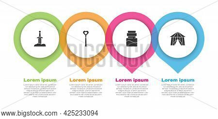 Set Sword In The Stone, Magic Wand, Bottle With Potion And Circus Tent. Business Infographic Templat