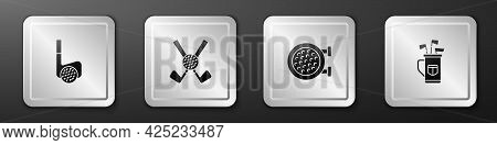 Set Golf Club With Ball, Crossed Golf, Sport And Bag Clubs Icon. Silver Square Button. Vector