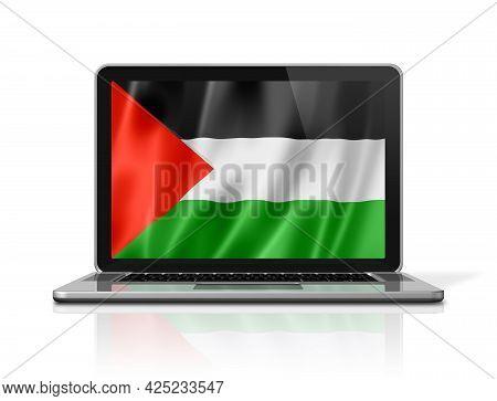Palestine Flag On Laptop Screen Isolated On White. 3d Illustration Render.