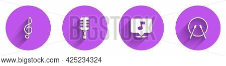 Set Treble Clef, Microphone, Music Note, Tone And Drum And Drum Sticks Icon With Long Shadow. Vector