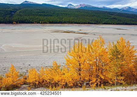 The shallow lake is fed by melted glacial waters. Medicine Lake in Jasper, located in the Canadian Rockies. The lake is surrounded by mountain peaks. Cloudy autumn day