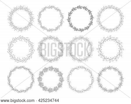 Floral Frames Set, Black Outline, Isolated On White. Botanical Wreaths Of Leaves, Wild Herbs, Branch