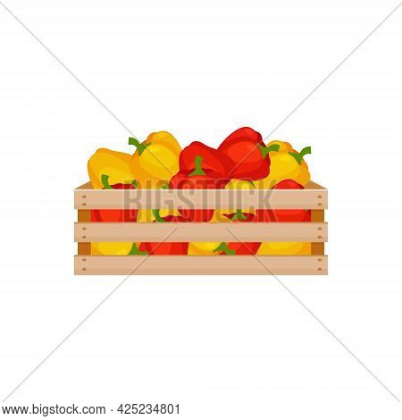 A Bright Autumn Illustration Depicting A Wooden Box With Red And Yellow Bell Peppers. The Harvested
