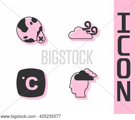 Set Man Having Headache, Water Drop Percentage, Celsius And Windy Weather Icon. Vector