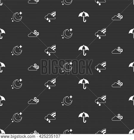 Set Umbrella, Windy Weather, Moon And Stars And Rainbow With Cloud Rain On Seamless Pattern. Vector