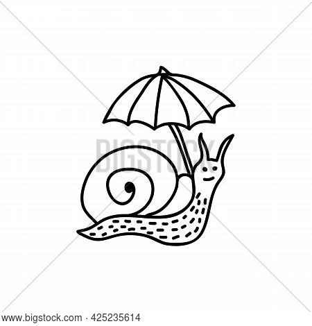 Single Hand Drawn Snail With Umbrella. Doodle Vector Illustration. Isolate On A White Background. Go