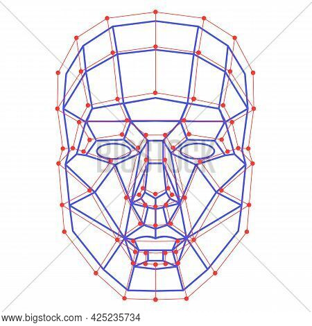 Facial Recognition System Concept. Face Id Verification Services Or Biometric Scanning. System Of Fa