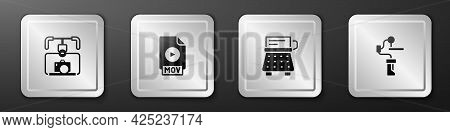 Set Gimbal Stabilizer With Camera, Mov File Document, Retro Typewriter And For Icon. Silver Square B